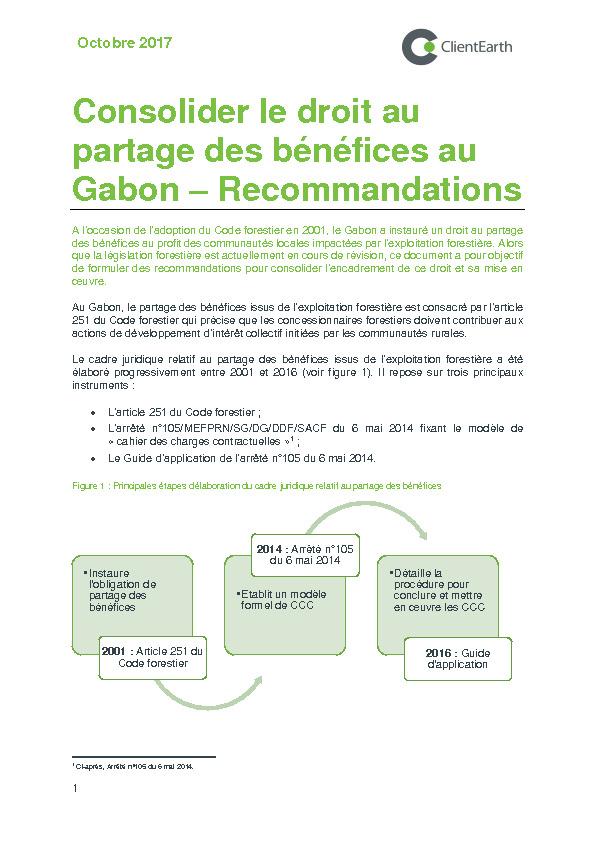 Consolider le droit au partage des bénéfices au Gabon – Recommandations