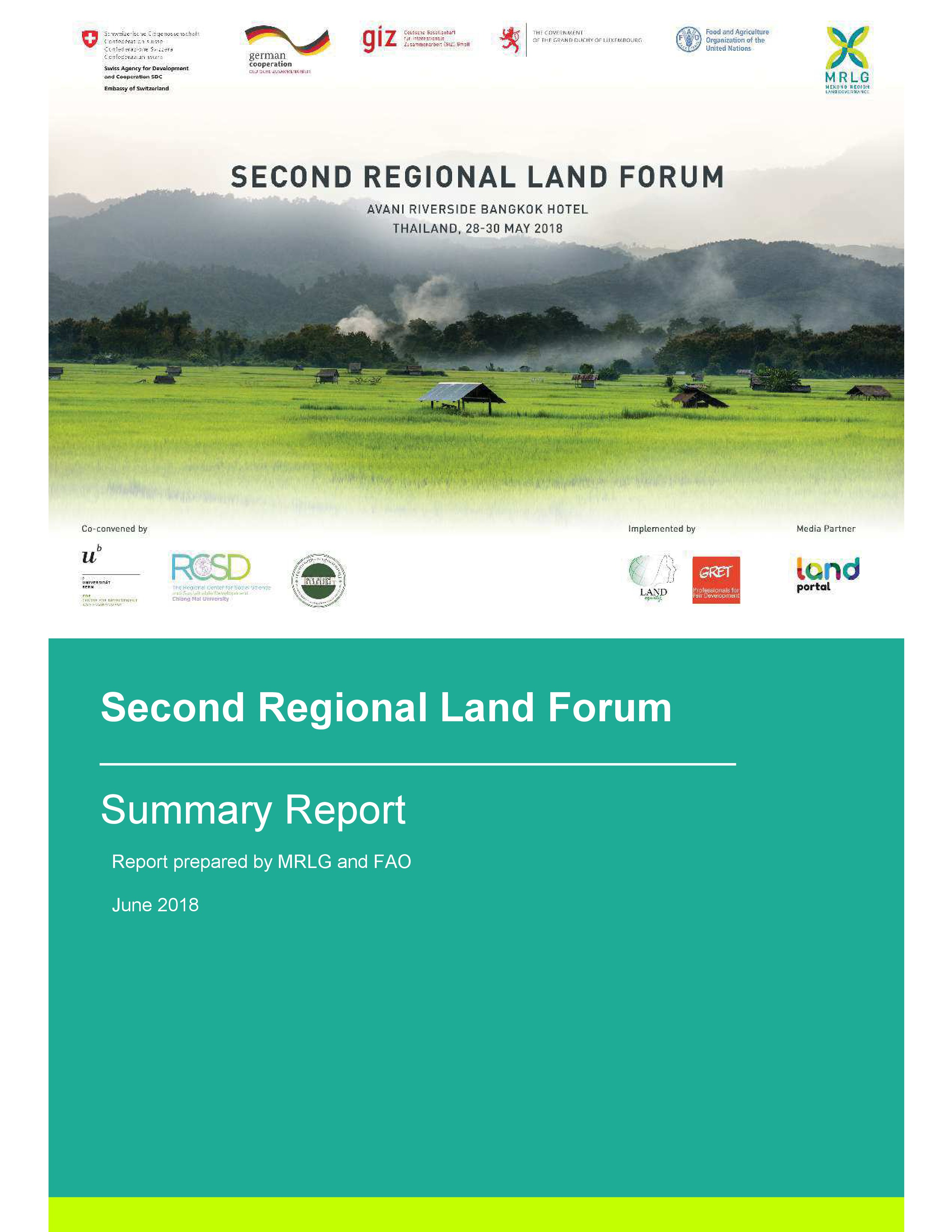 Cover MRLG (2018) Summary Report of the Second Regional Land Forum, 28 – 30 May 2018