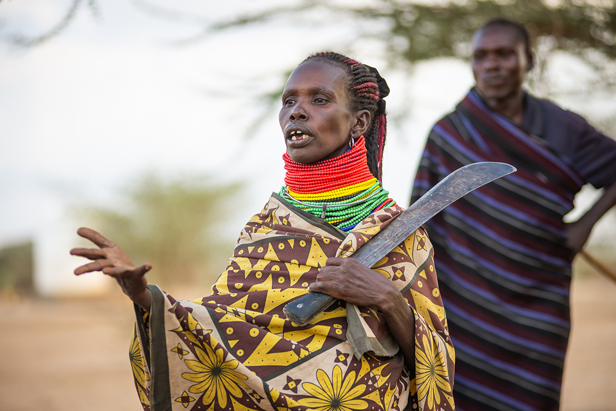 Picture credit. Nadiko Lopei Alim a pastoralist from Kapese inTurkana, Northern Kenya. Trócaire is working on resource rights and community engagement to mitigate the risk of conflict related to the extractives industry in Turkana. (Photo by Garry Walsh)