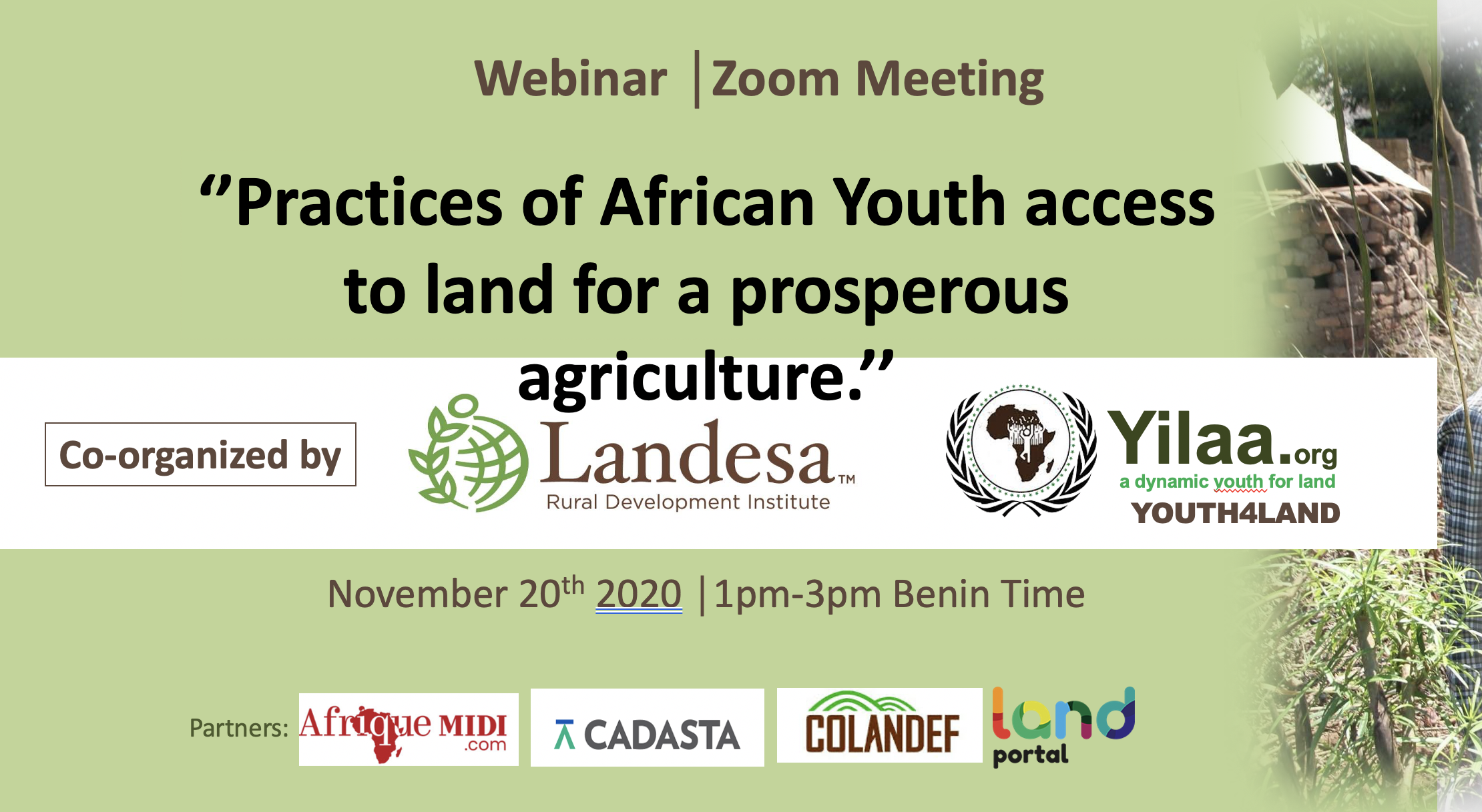 'Practices of African Youth access to land for a prosperous agriculture