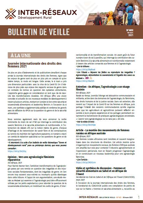 Bulletin de veille n°402 d'Inter-réseaux Développement rural