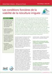 Les conditions foncières de la viabilité de la riziculture irriguée cover image