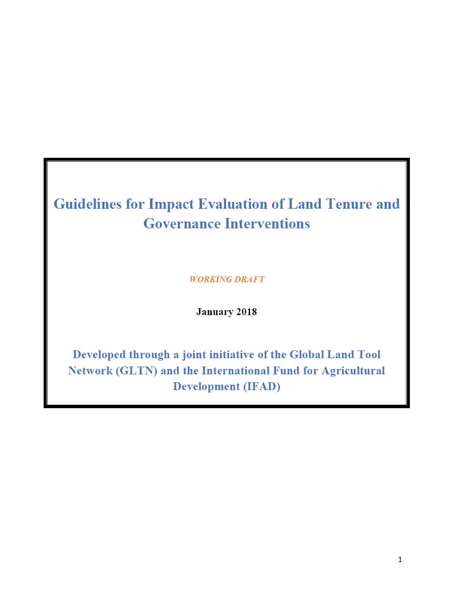 Guidelines for Impact Evaluation of Land Tenure and Governance Interventions