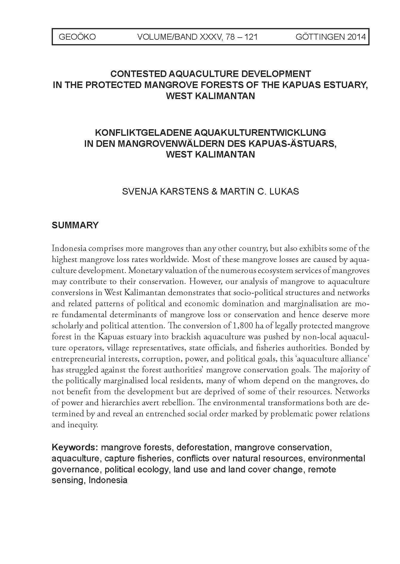 Contested aquaculture development in the protected mangrove forests of the Kapuas estuary, West Kalimantan