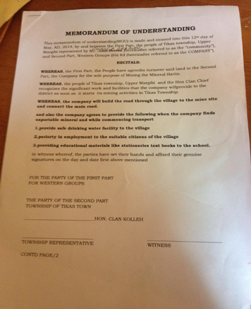 A crude MOU provided to a Liberian community by a national investor