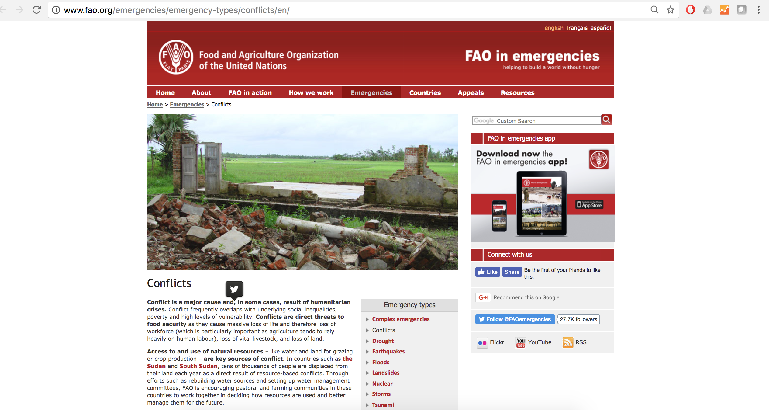 FAO in emergencies: conflicts cover image