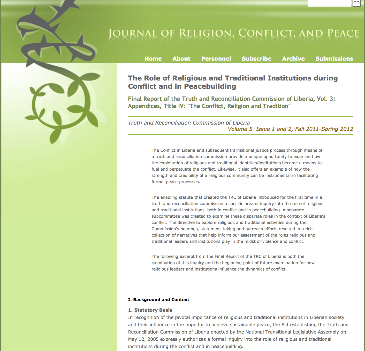The Role of Religious and Traditional Institutions during Conflict and in Peacebuilding cover image
