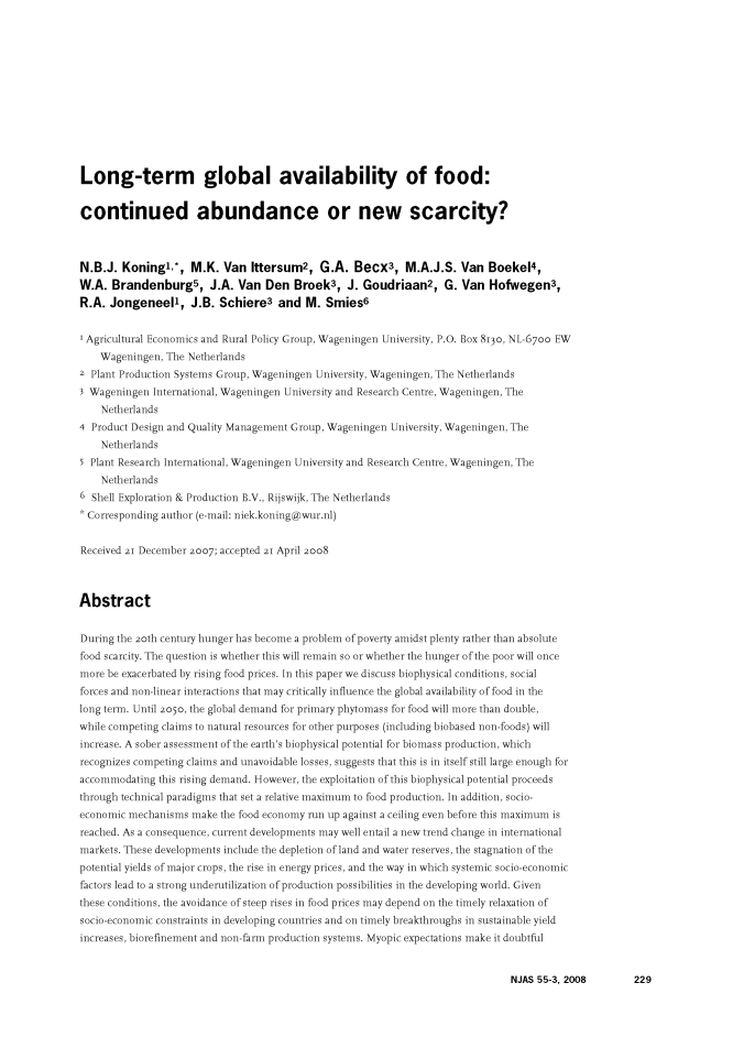 Long-term global availability of food: continued abundance or new scarcity? cover image