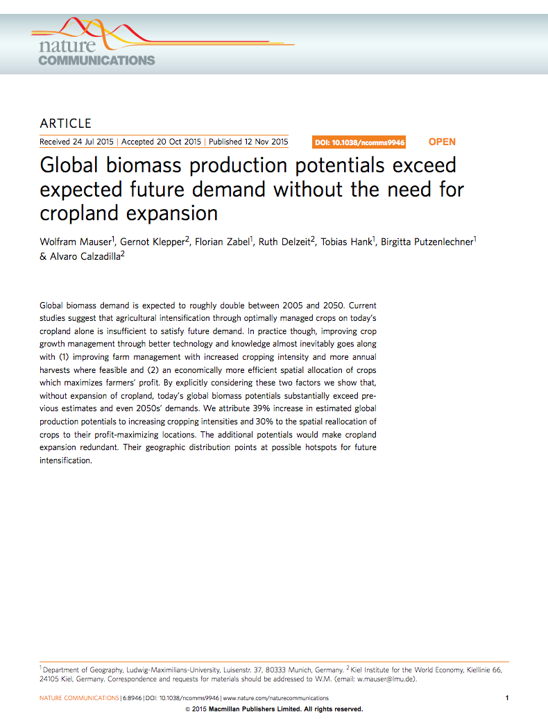 Global biomass production potentials exceed expected future demand without the need for cropland expansion cover image