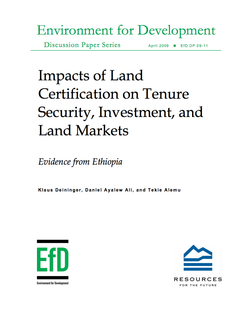 Impacts of Land Certification on Tenure Security, Investment, and Land Markets  cover image