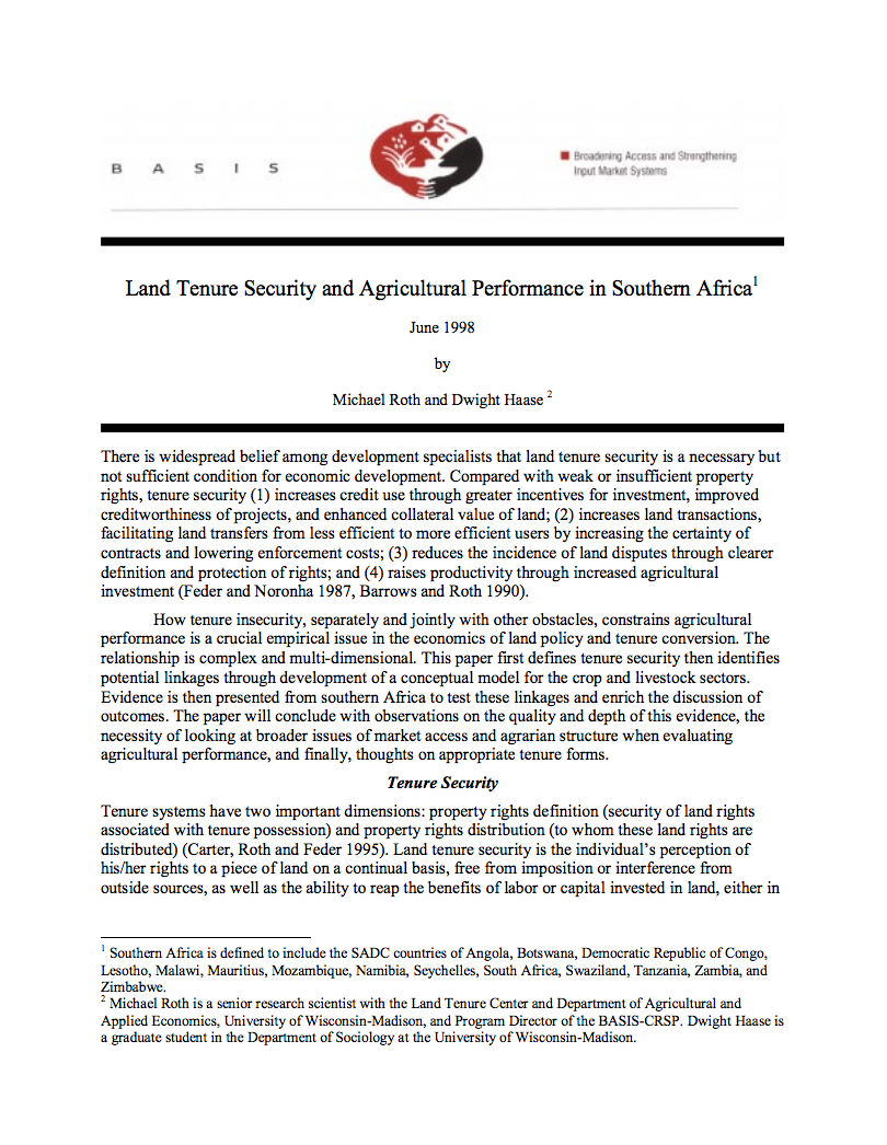 Land Tenure Security and Agricultural Performance in Southern Africa cover image