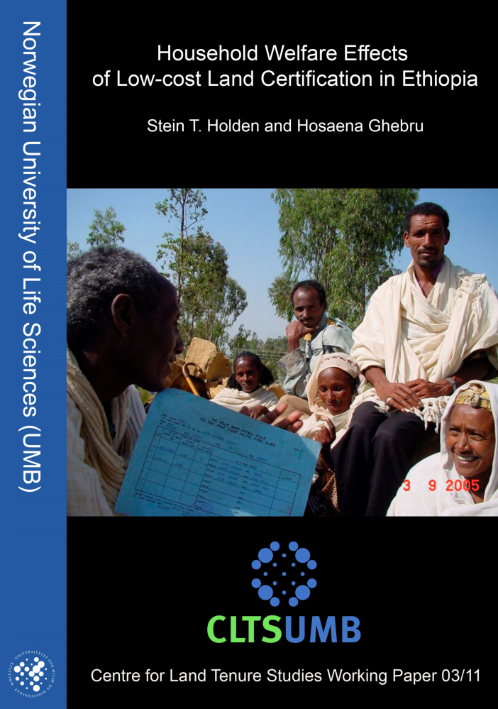 Household Welfare Effects of Low-cost land certification in Ethiopia cover image
