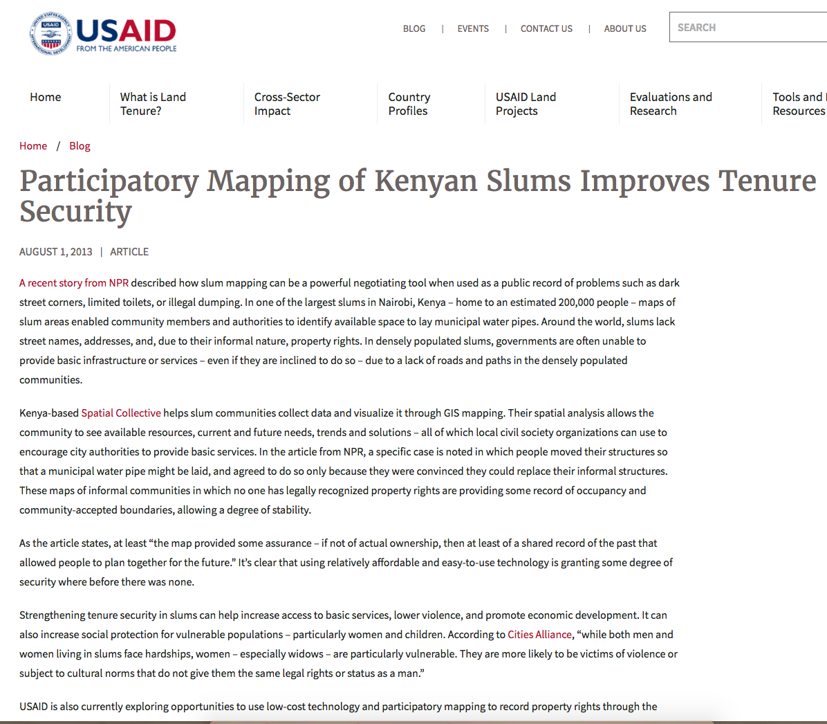 Participatory Mapping of Kenyan Slums Improves Tenure Security cover image