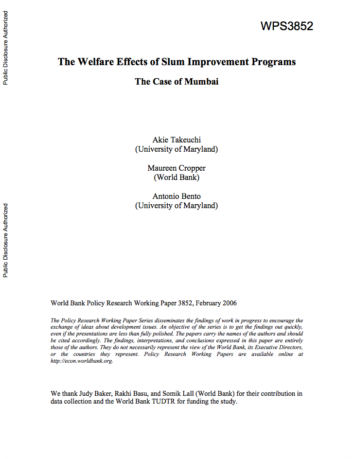 The Welfare Effects of Slum Improvement Programs : The Case of Mumbai cover image