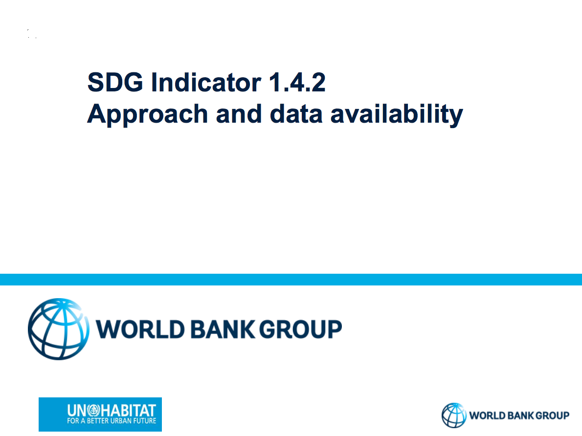 SDG Indicator 1.4.2: Approach and data availability cover image