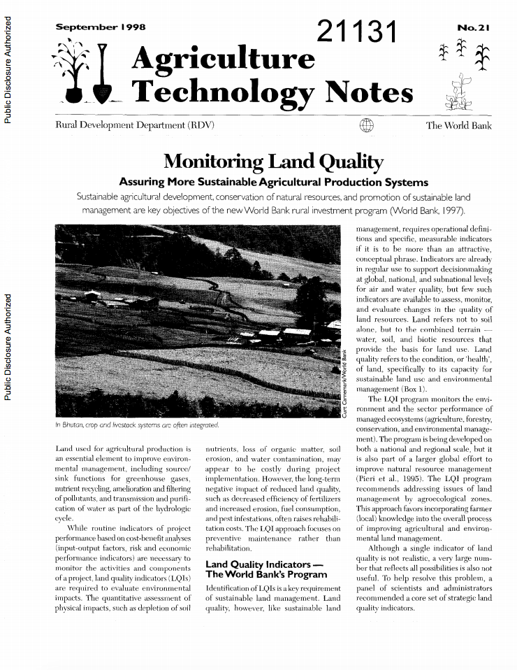 Monitoring land quality : assuring more   sustainable agricultural production systems cover image