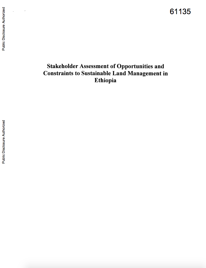Stakeholder Assessment of Opportunities and Constraints to Sustainable Land Management in Ethiopia cover image
