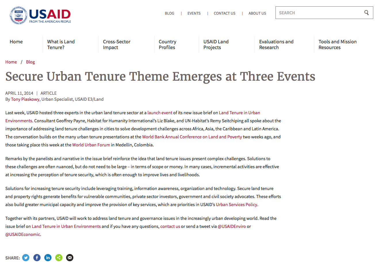 Secure Urban Tenure Theme Emerges at Three Events cover image