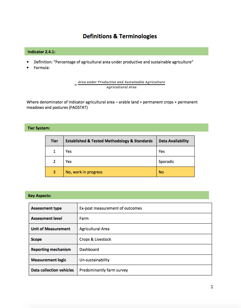 SDG Indicator 2.4.1: Definitions & Terminologies cover image