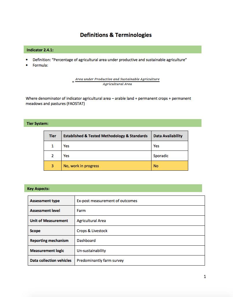 SDG Indicator 2.4.1: Definitions & Terminologies cover image