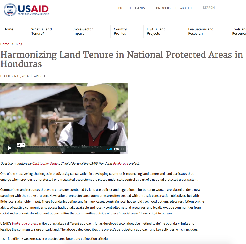 Harmonizing Land Tenure in National Protected Areas in Honduras cover image