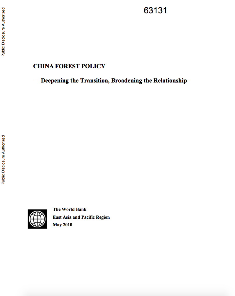 China Forest Policy : Deepening the Transition, Broadening the Relationship cover image