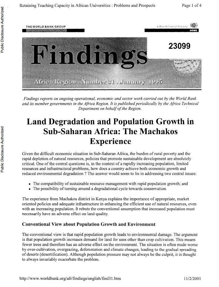 Land Degradation and Population Growth in Sub-Saharan Africa : The Machakos Experience cover image