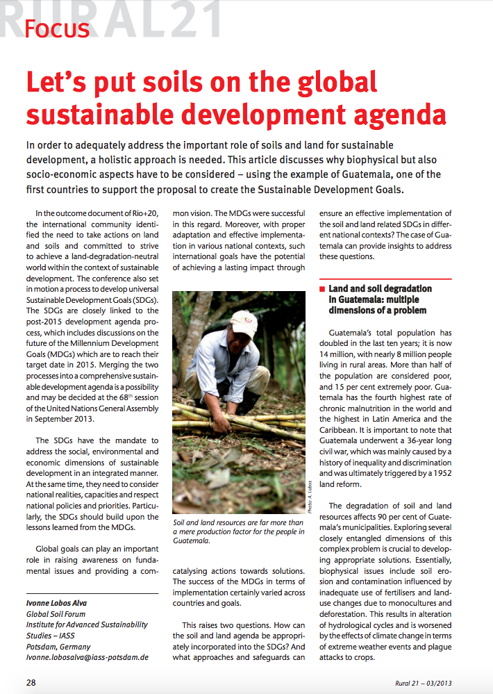 Let's put soils on the global sustainable development agenda cover image
