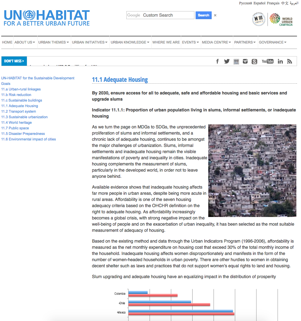 UN-Habitat SDG 11.1 Adequate Housing cover image