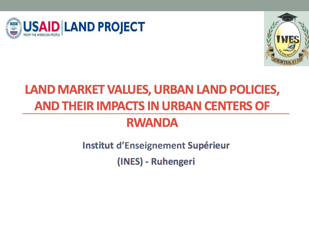 Policy Brief: Land Market Values, Urban Land Policies, and their Impacts in Urban Centers of Rwanda cover image
