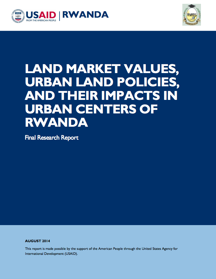 LAND MARKET VALUES, URBAN LAND POLICIES, AND THEIR IMPACTS IN URBAN CENTERS OF RWANDA cover image