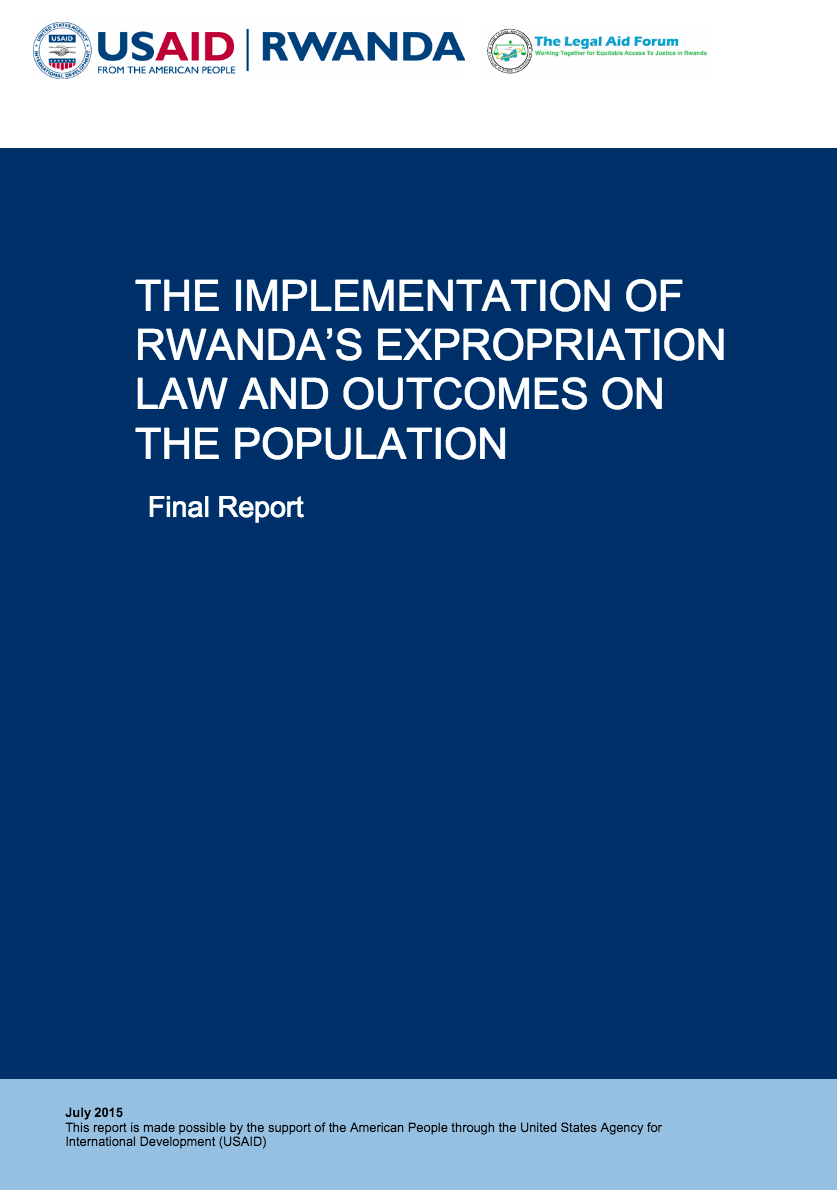 Policy Brief: The Implementation of Rwanda's Expropriation Law and Outcomes on the Population cover image