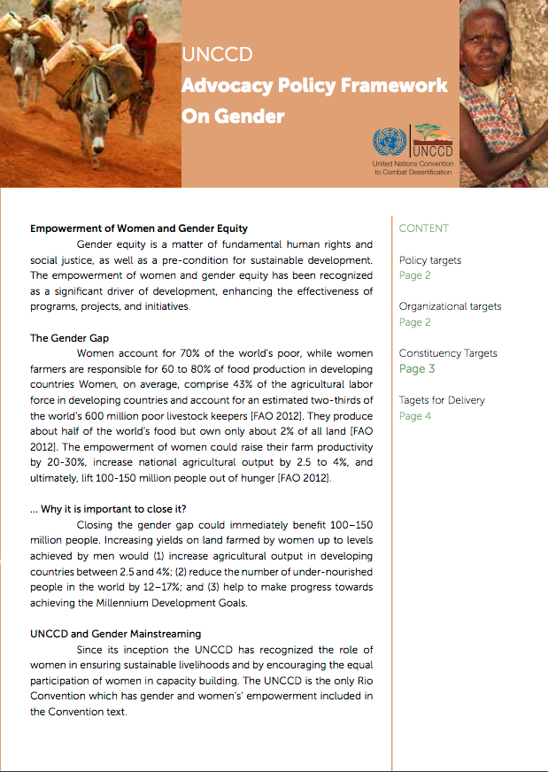 UNCCD Advocacy Policy Framework on Gender cover image