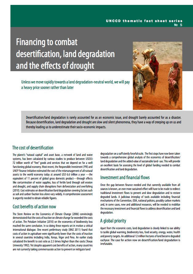 Financing to combat desertification, land degradation and the effects of drought cover image