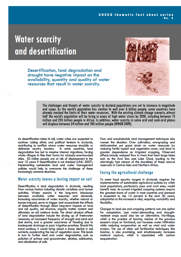 Water scarcity and desertification cover image