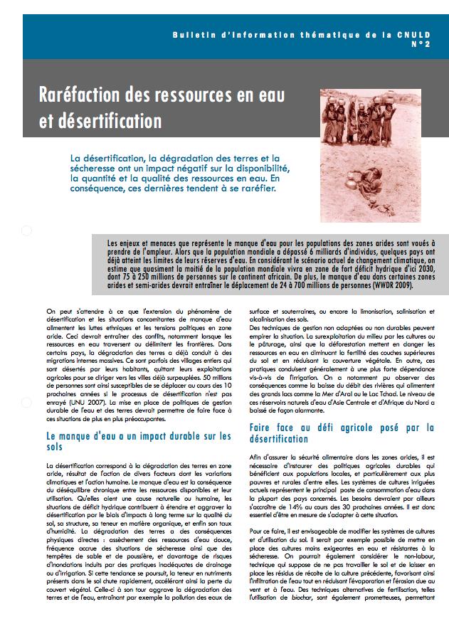Raréfaction des ressources en eau et désertification cover image