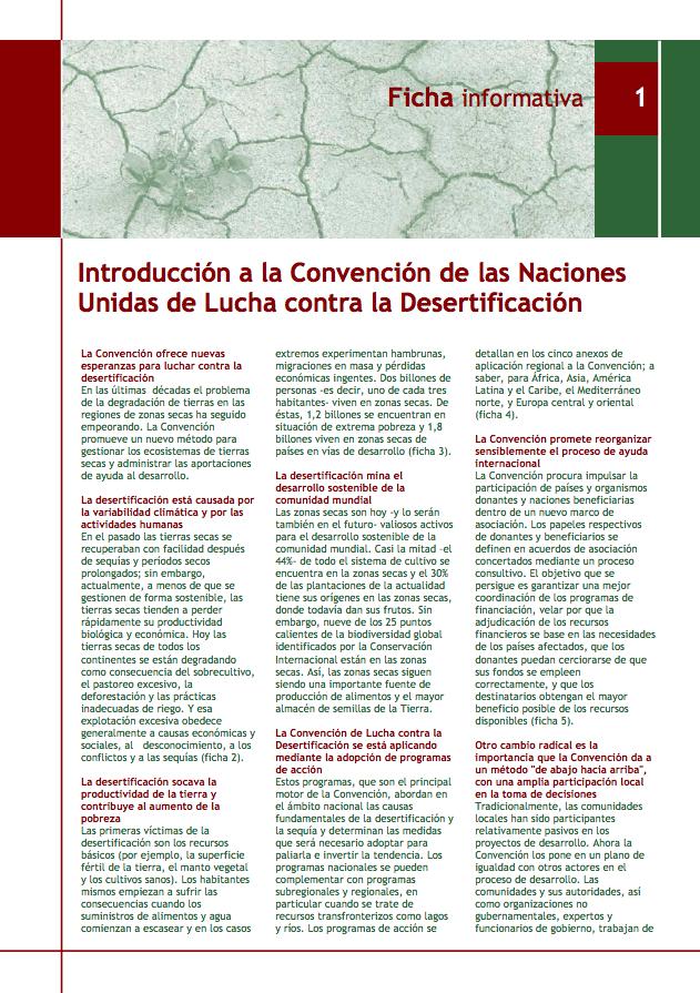 UNCCD Ficha informativa: Introducción a la Convención de las Naciones Unidas de Lucha contra la Desertificación cover image