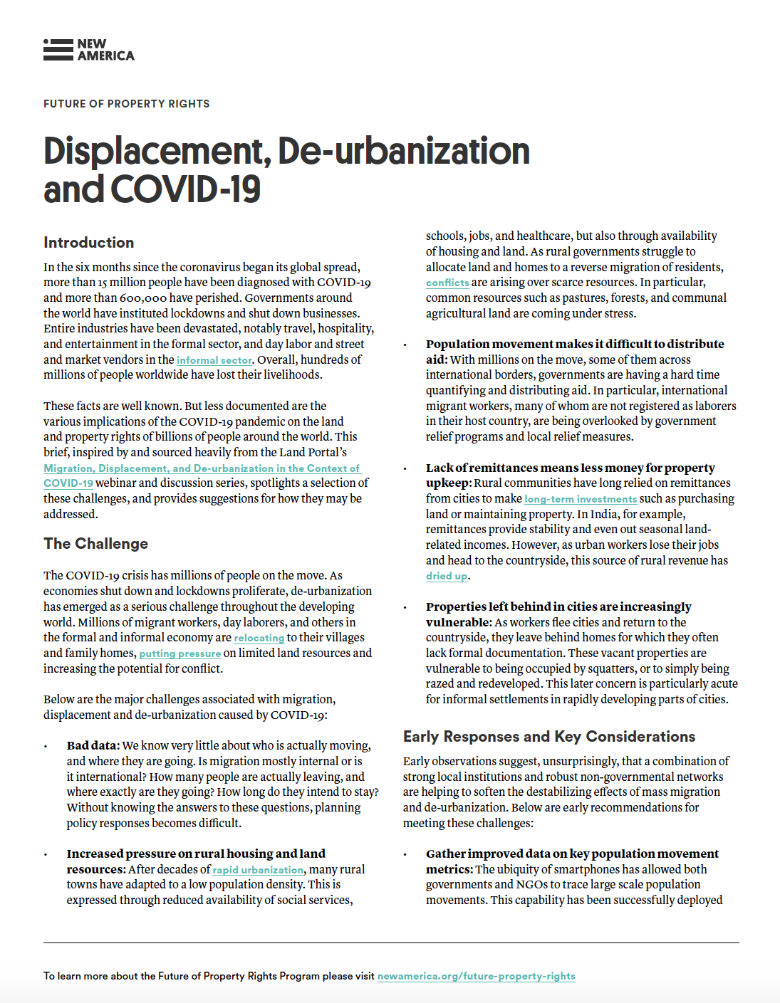 Displacement, De-urbanization, and COVID-19