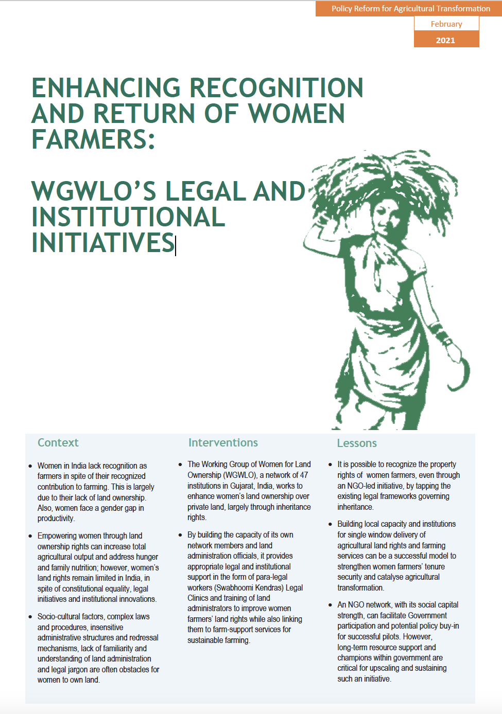 ENHANCING RECOGNITION AND RETURN OF WOMEN FARMERS: WGWLO'S LEGAL AND INSTITUTIONAL INITIATIVES