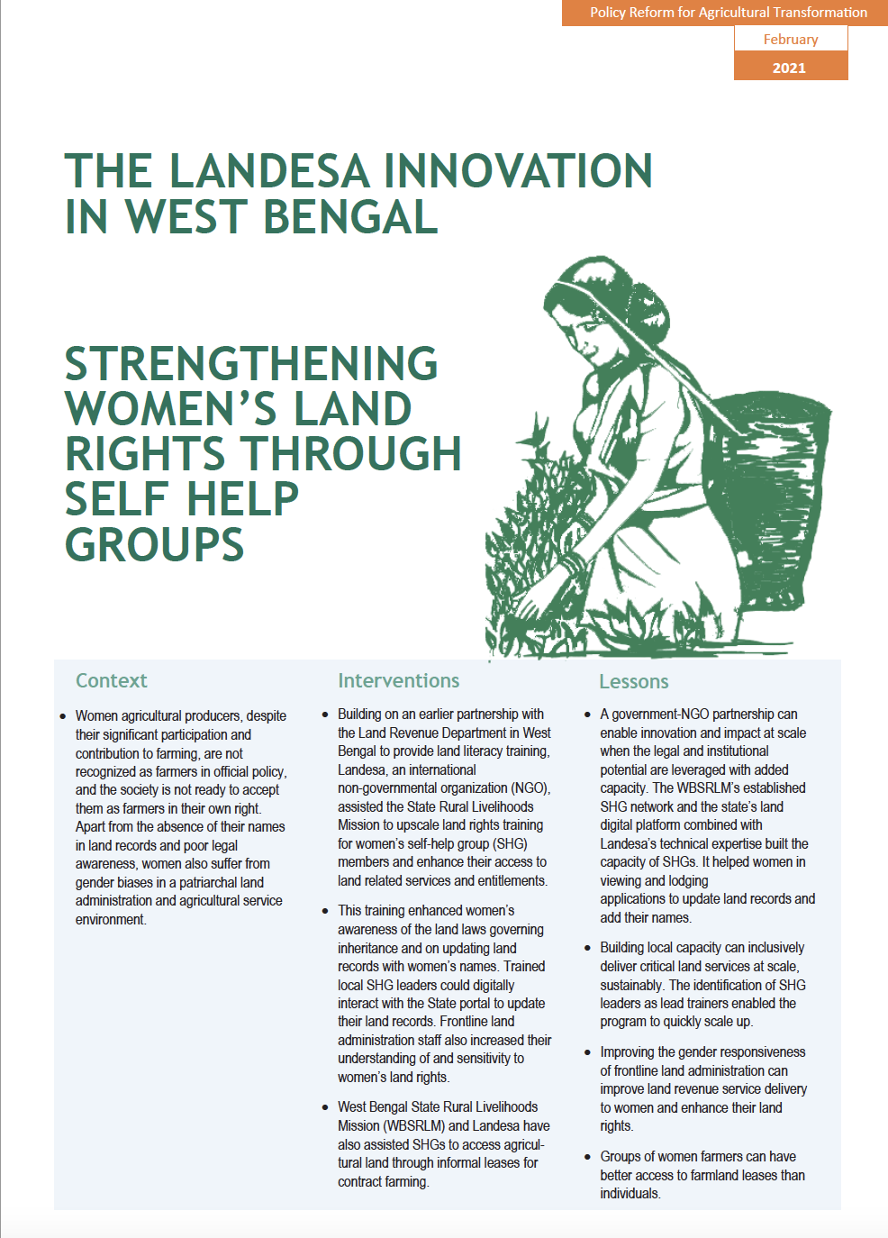 Strengthening Women's Land Rights Through Self Help Groups