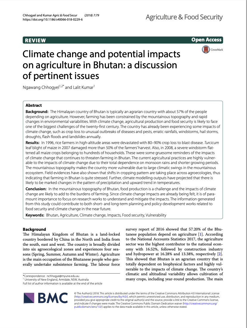 Climate change and potential impacts on agriculture in Bhutan: a discussion of pertinent issues