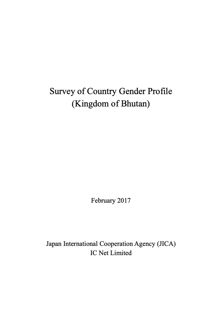 Survey of Country Gender Profile (Kingdom of Bhutan)