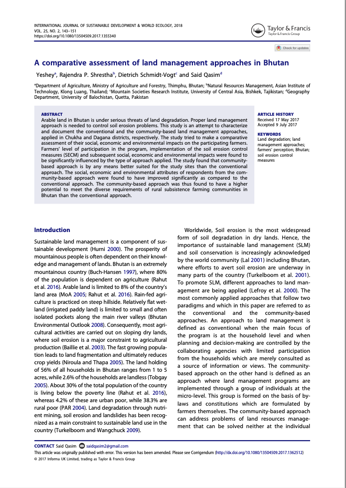 A comparative assessment of land management approaches in Bhutan