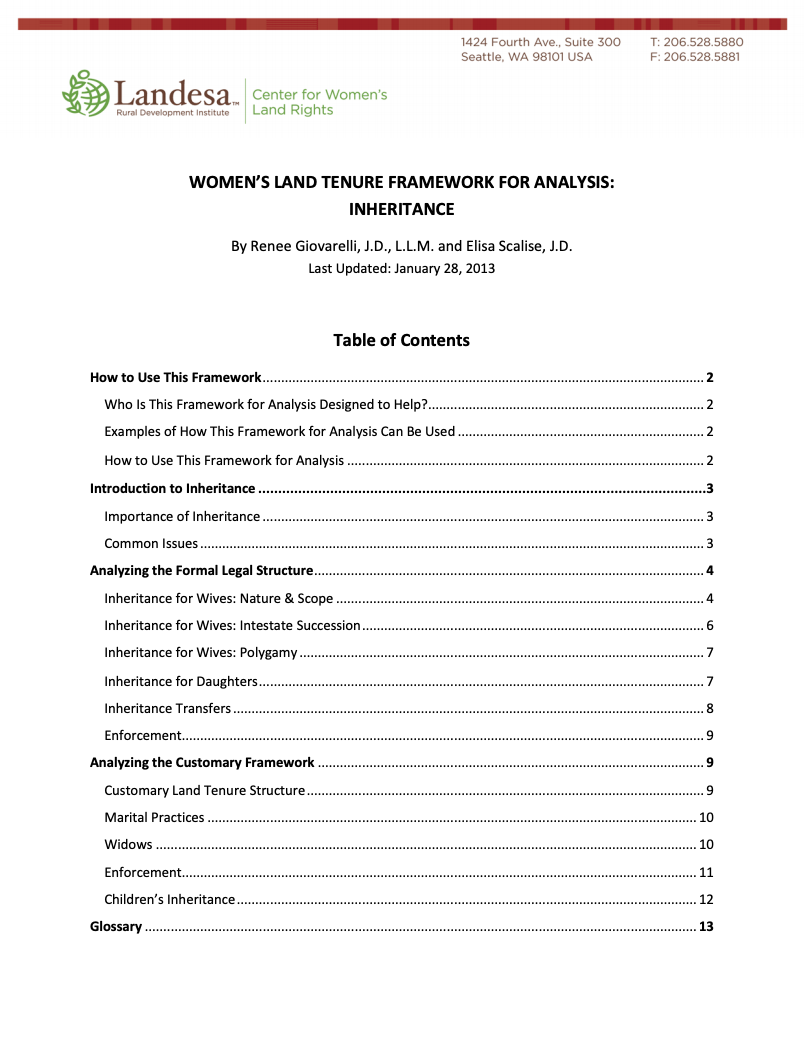 Women's Land Tenure Framework: Inheritance cover image