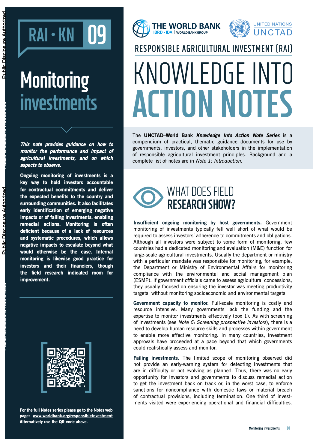 Responsible Agricultural Investment (RAI): Knowledge into Action Notes series - 9 - Monitoring investments cover image