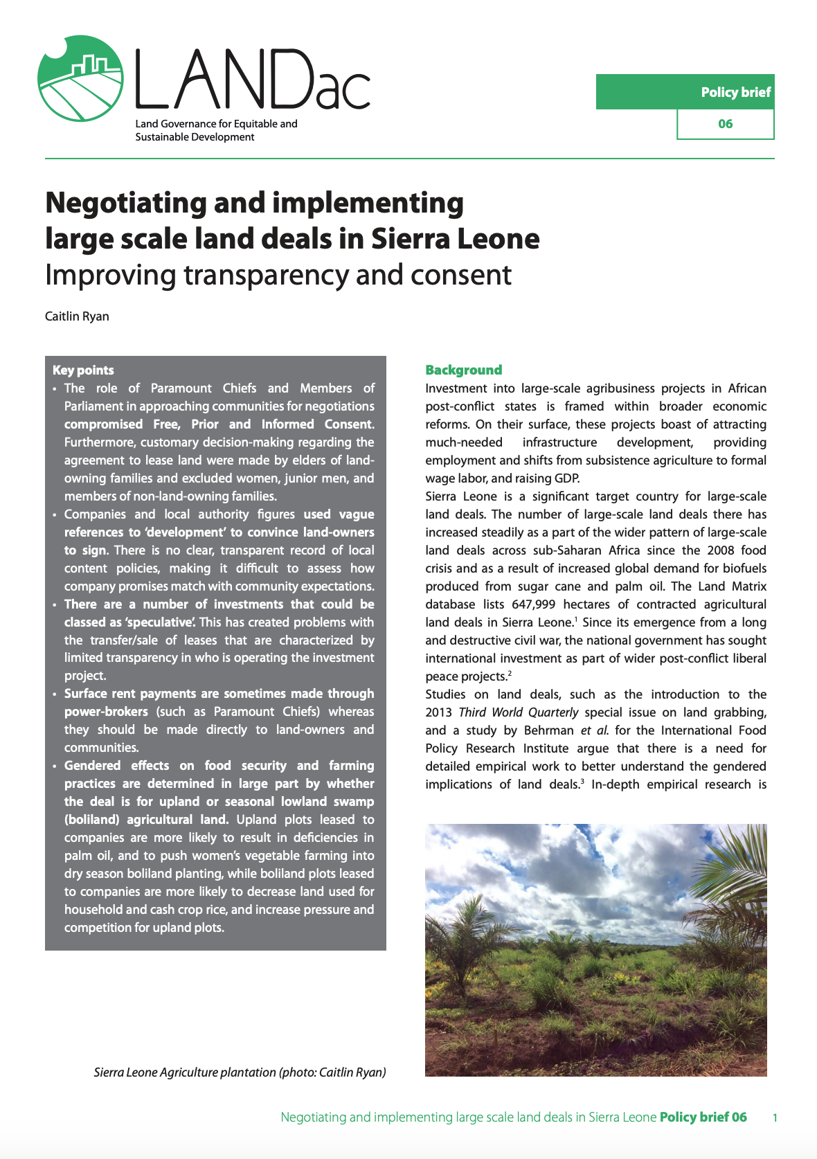 LANDac | Policy Brief #6 Negotiating and implementing large scale land deals in Sierra Leone cover image