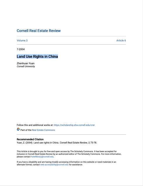 Land Use Rights in China