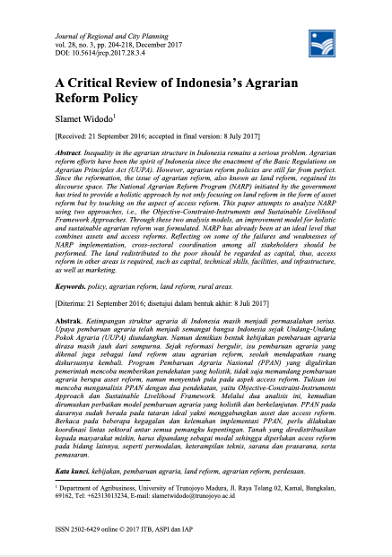 A Critical Review of Indonesia's Agrarian Reform Policy