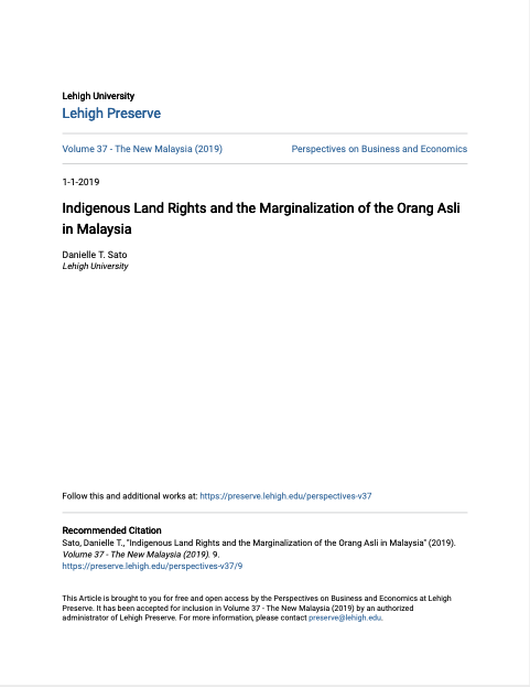 Indigenous Land Rights and the Marginalization of the Orang Asli in Malaysia