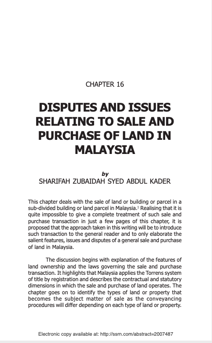 Disputes And Issues Relating To Sale And Purchase Of Land In Malaysia